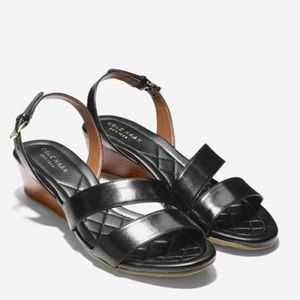 Cole Haan Tali Grand Black Strappy Sandal Wedge